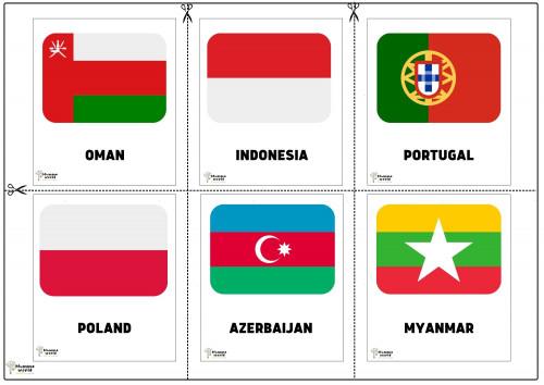 Flags Of Countries - Oman   Indonesia   Portugal   Poland   Azerbaijan   Myanmar