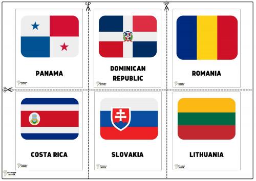 Flags Of Countries - Panama  Dominican Republic   Romania   Costa Rica   Slovakia   Lithuania