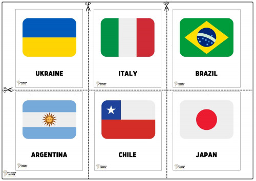 Flags Of Countries - Ukraine   Italy   Brazil   Argentina   Chile   Japan