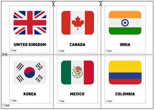 Flags Of Countries - United Kingdom   Canada  I India   Korea  Mexico   Colombia