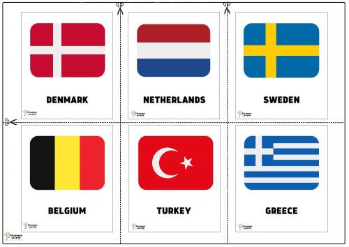 Flags Of Countries -Denmark   Netherlands   Sweden   Belgium   Turkey   Greece