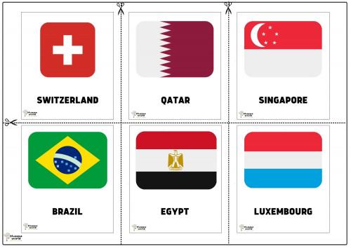 Flags Of Countries -Switzerland   Qatar   Singapore   Brazil   Egypt   Luxembourg