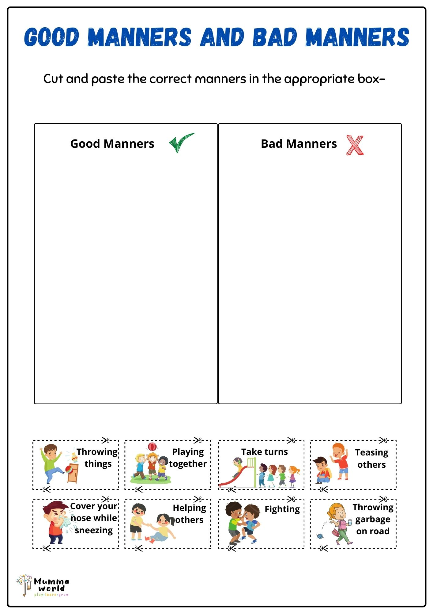 Good manners and bad manners worksheet