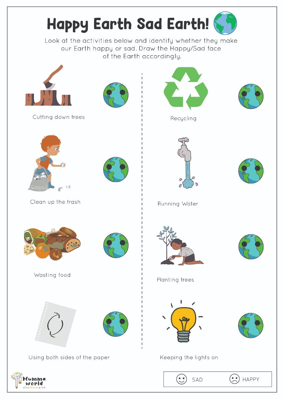Earth - Pollution worksheet for kids