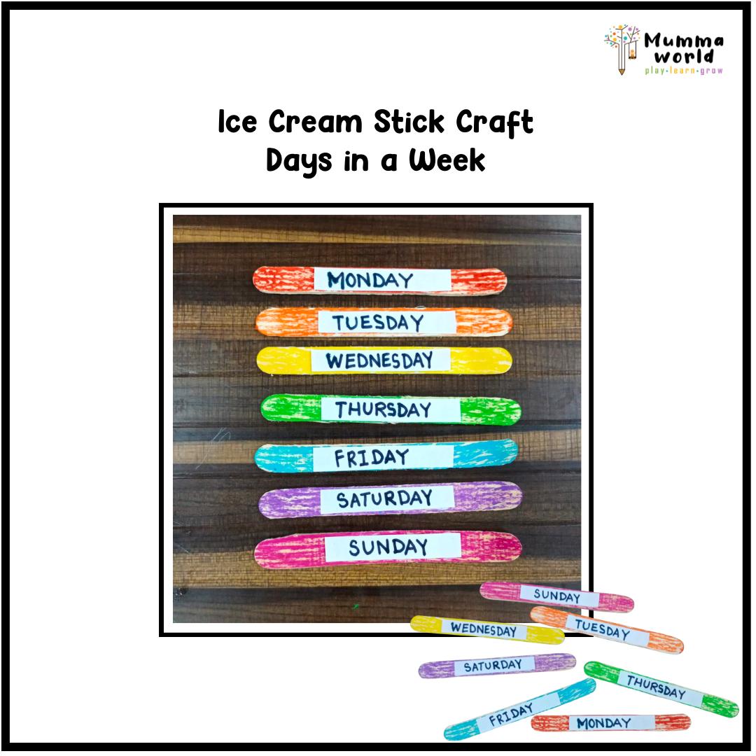 Days In A Week - Ice-Cream Sticks Activity
