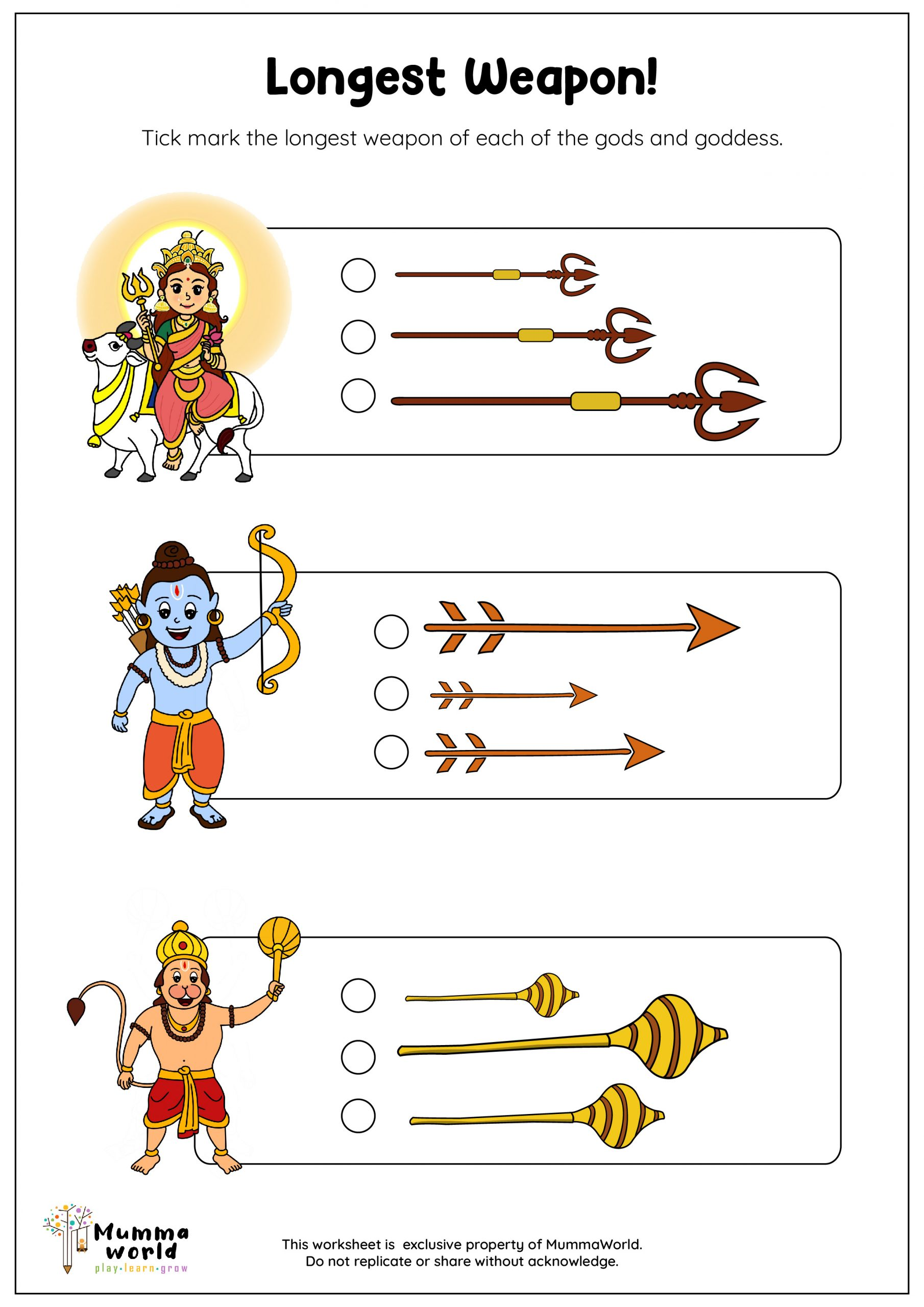 long and short worksheet